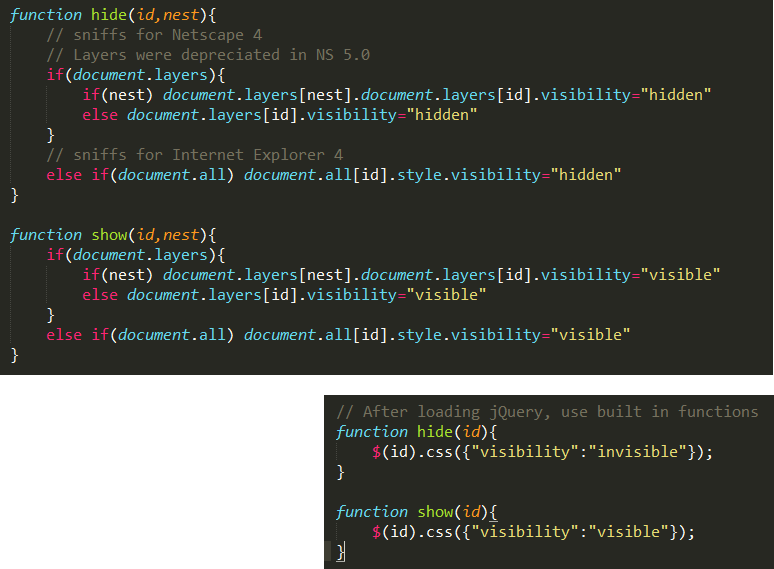 What I did: Original code with my comments, alongside the 'fixed', jQuery equivalent. [Sublime Text with Monokai theme.]