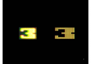 These 3's are from Berzerk, as discussed in my dissertation. CRT on the left, LCD on the right.