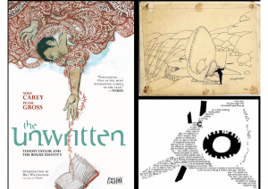 "In this slide, The Unwritten and The Raw Shark Texts are examples of texts where metalepsis becomes something dark. The top-right image is from ""Gertie the Dinosaur."""