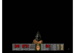 DOOM (1993). Not the first, but still one of the most famous videogame HUDs.