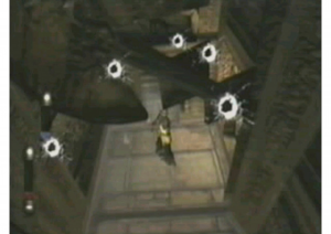 Ah, Eternal Darkness (2002) -- still one of my favorites. The sanity effects are tricky to capture since you never know when they're coming. I found this image of the bulletholes in Bernard Perron's conference paper on horror games.